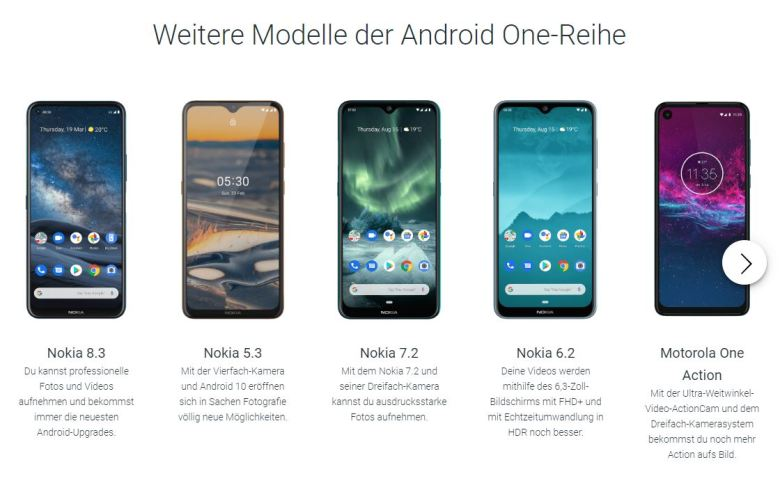 Android One Modelle Juli 2020