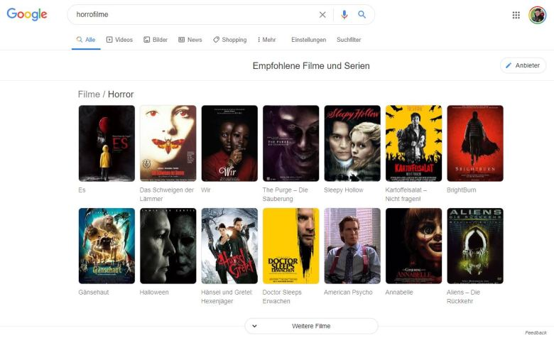 Google Filmfunktionen Desktop Suche