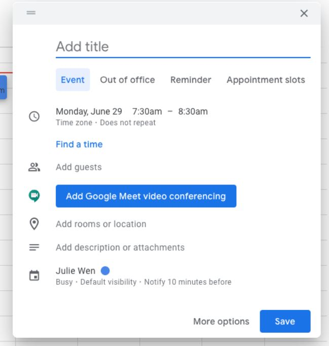 Google Kalender Neues Popup