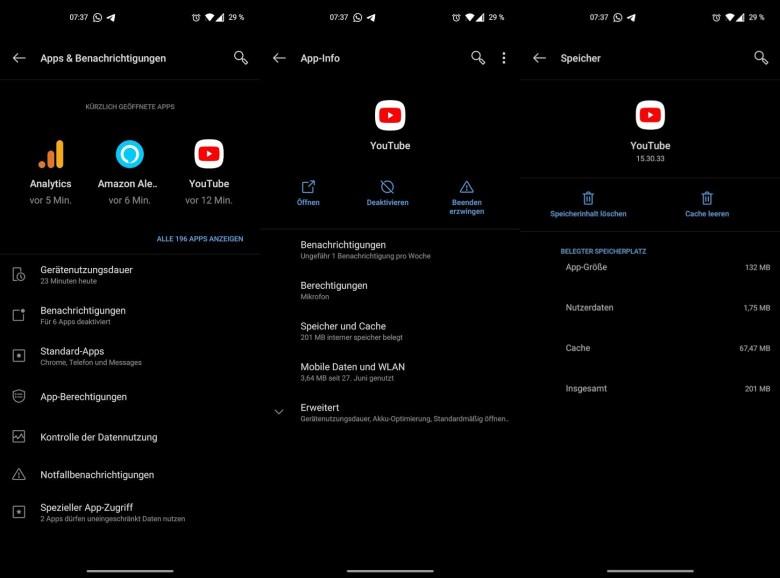 Screenshots App Daten Und Cache Löschen