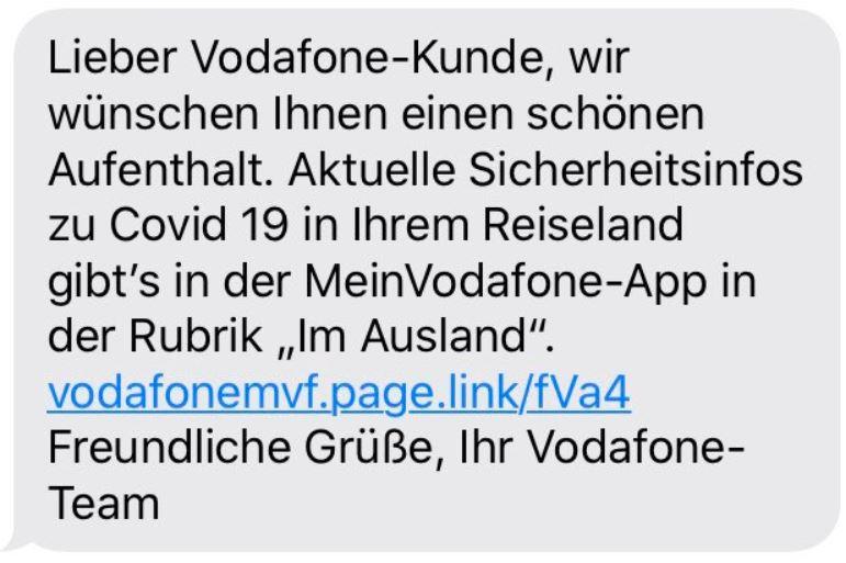 Vodafone Covid 19 Reiseland Warnung