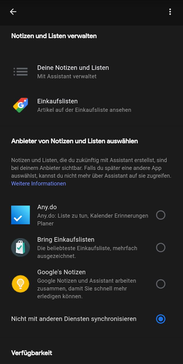 Assistant Notizen Und Listen