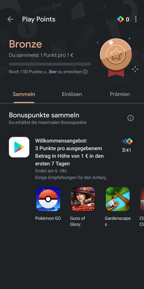 Google Play Points Deutsch Screenshot