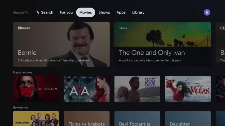 Google Tv Homescreen Movies