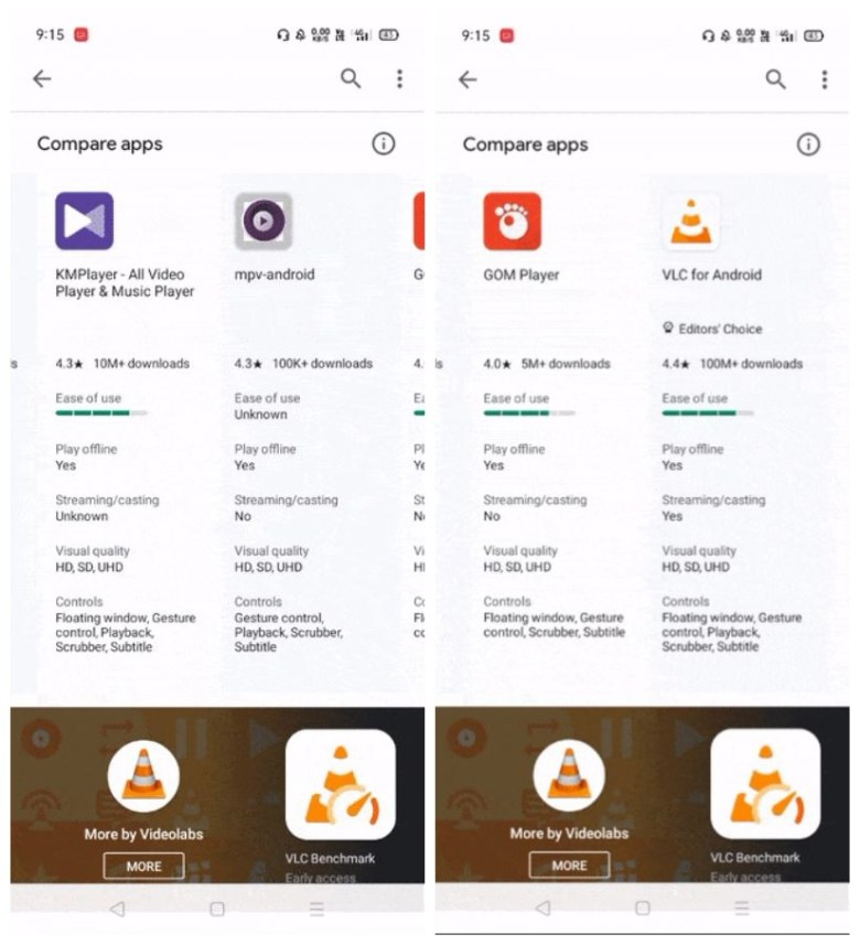 Compare Apps Play Store