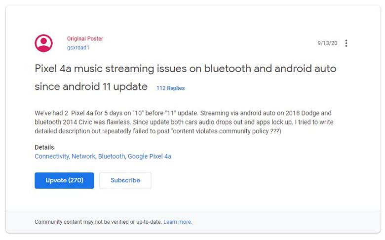 Pixel 4a Thread Bluetooth Probleme Android 11