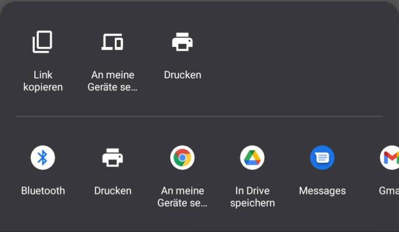 Google Chrome 86 Teilenmenü