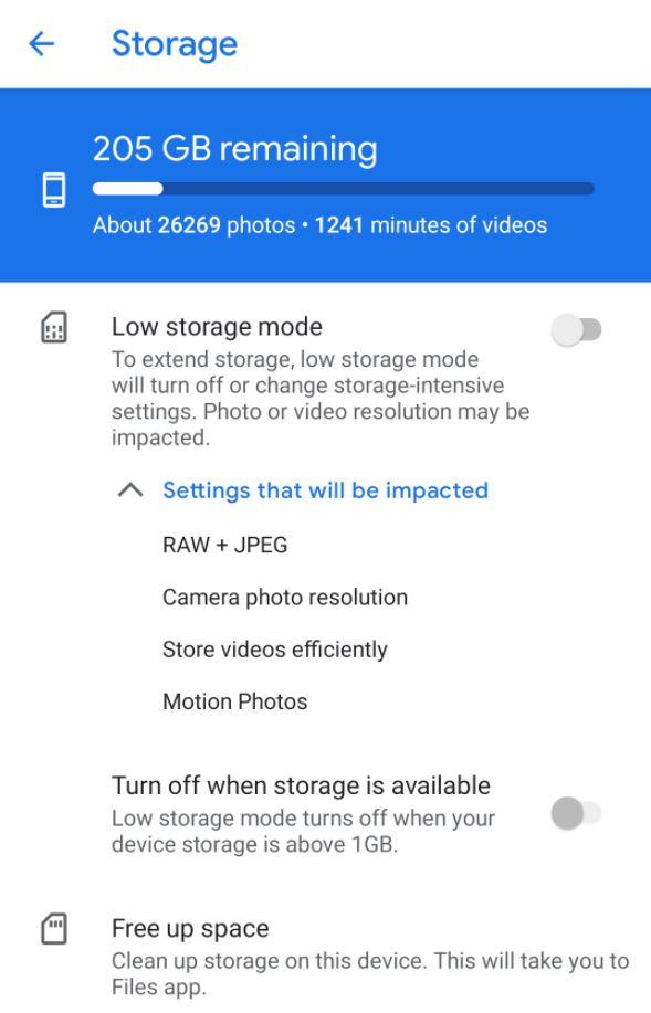 Paramètres de stockage de l'appareil photo Google