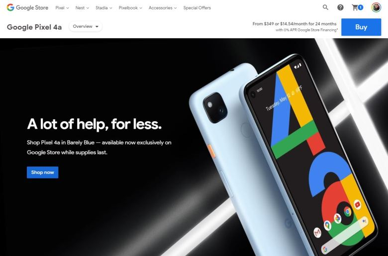 Pixel 4a Blau Google Store