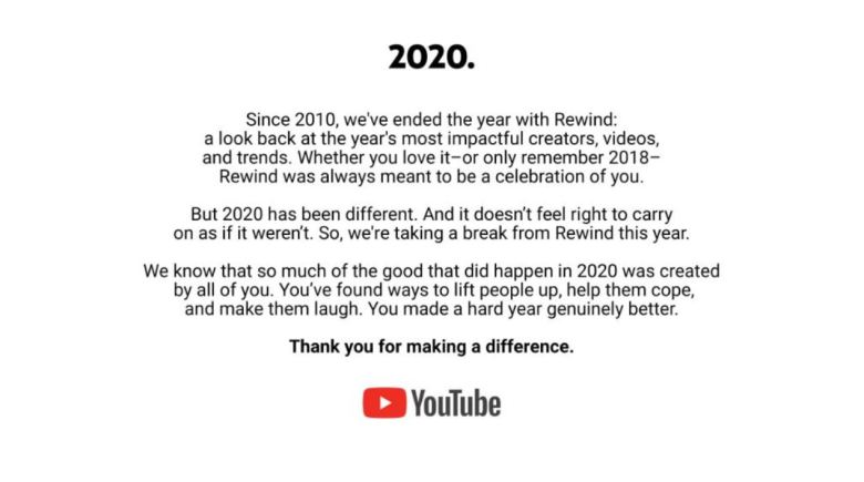Youtube Rewind 2020 Statement