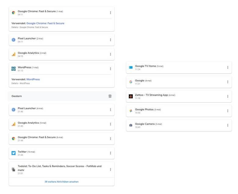 Google App Aktivitäten Protokoll (2)