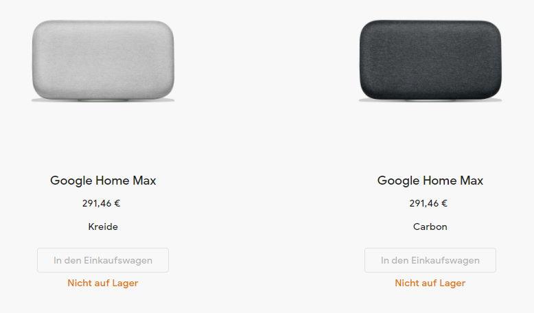 Google Home Max Ausverkauft