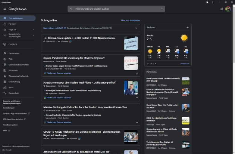 Google News Darkmode