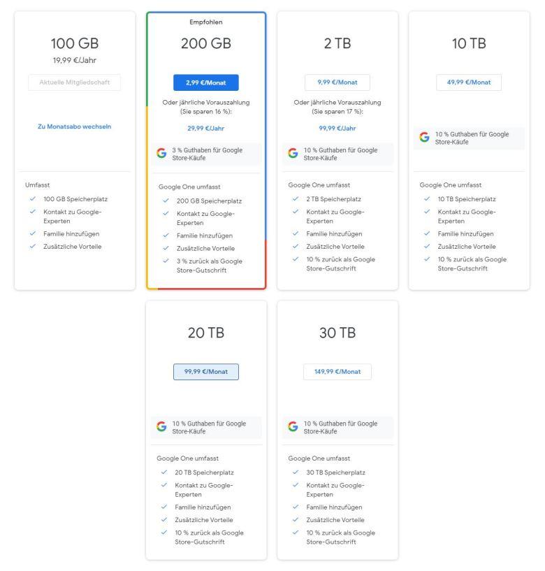 Google One Preise Stand Dez 2020