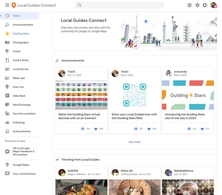 Google Local Guides Connect Webversion