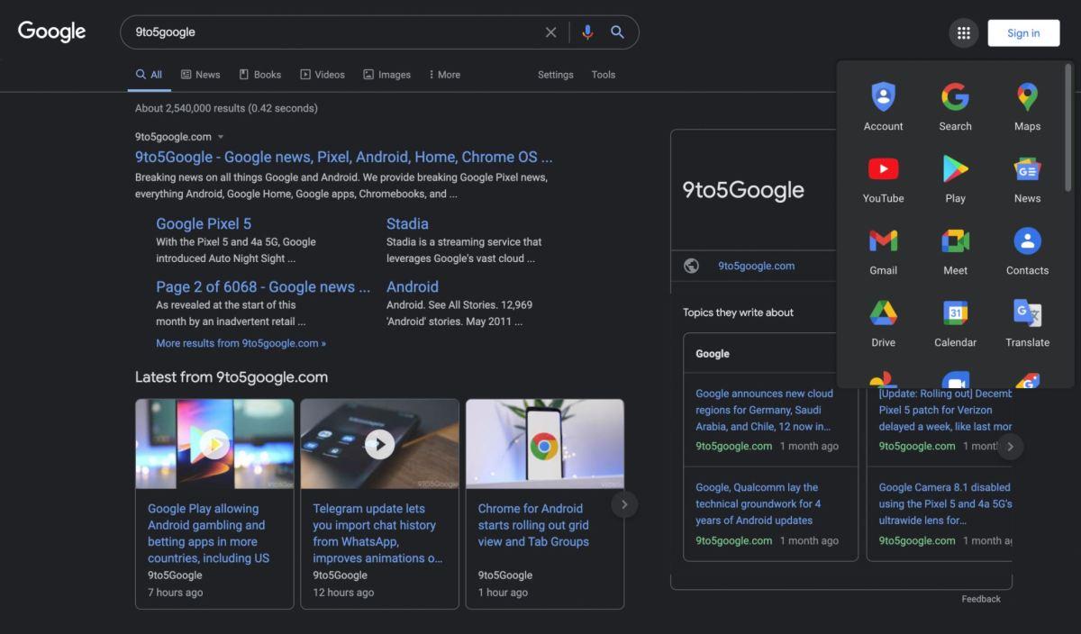 Google Suche Darkmode