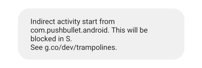 Android 12 Benachrichtigungen Trampoline