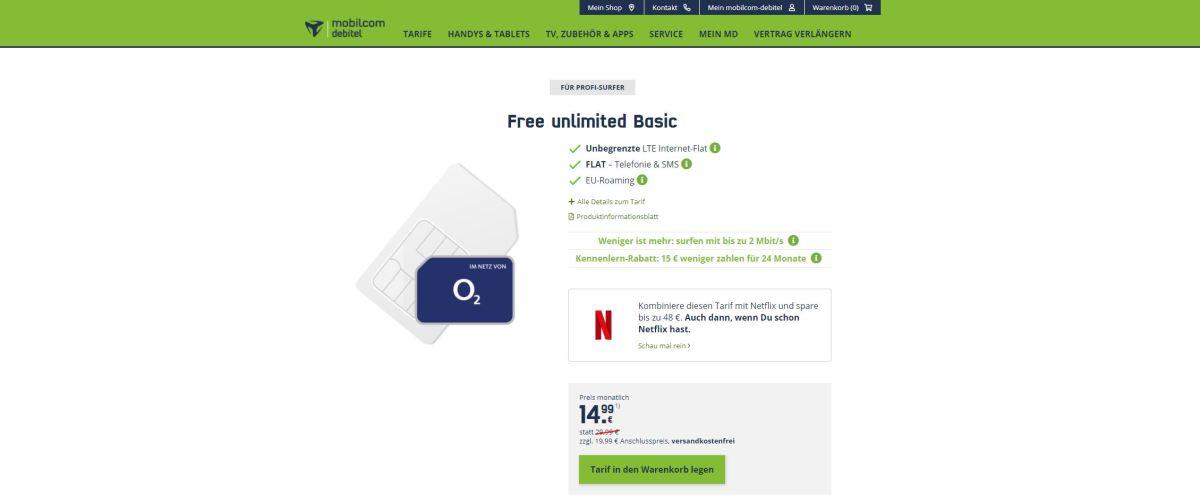 Free Unlimited Basic 15 Euro Screenshot
