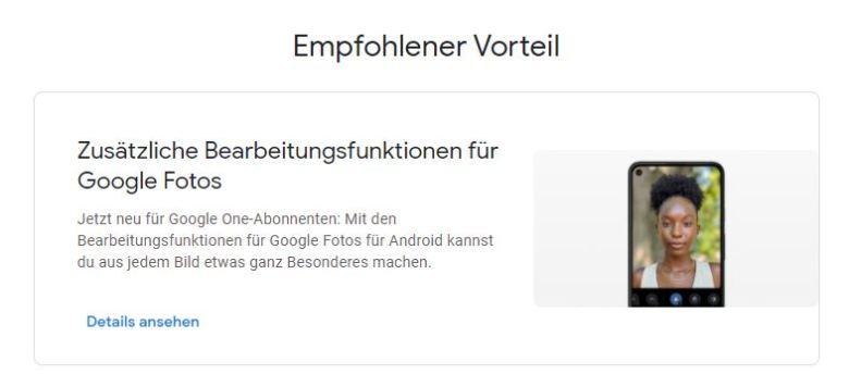 Google One Fotos Vorteil