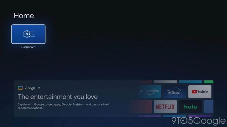 Pantalla de inicio del modo de inicio de Google TV