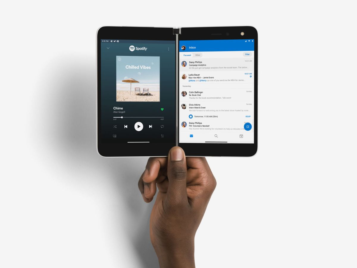 Microsoft Surface Duo Spotify Outlook