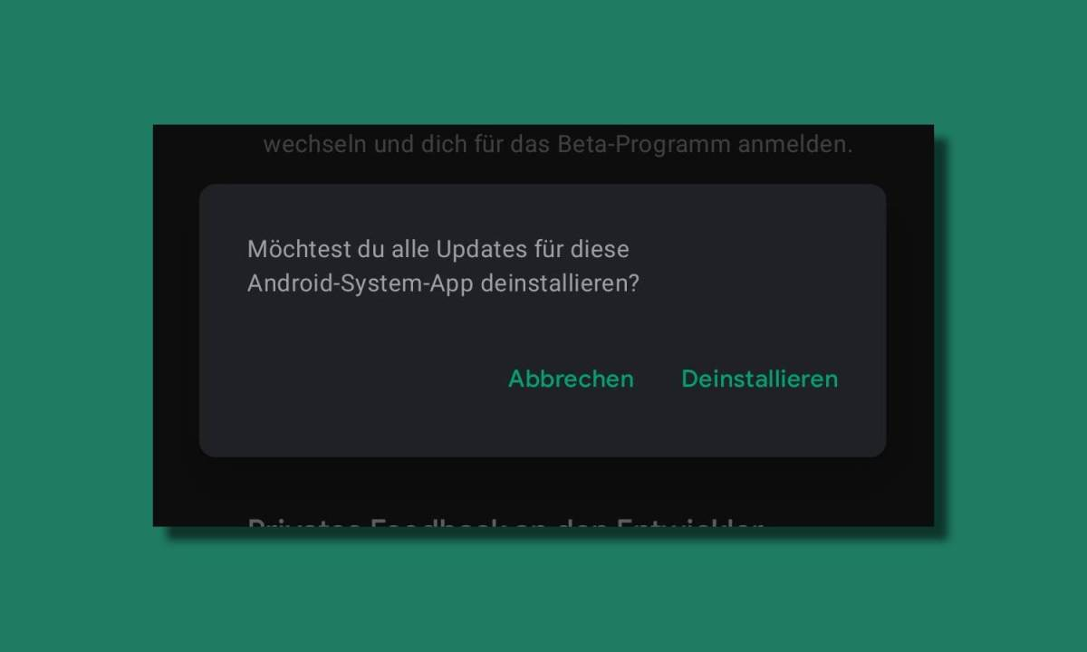 App Updates Deinstallieren Dialog