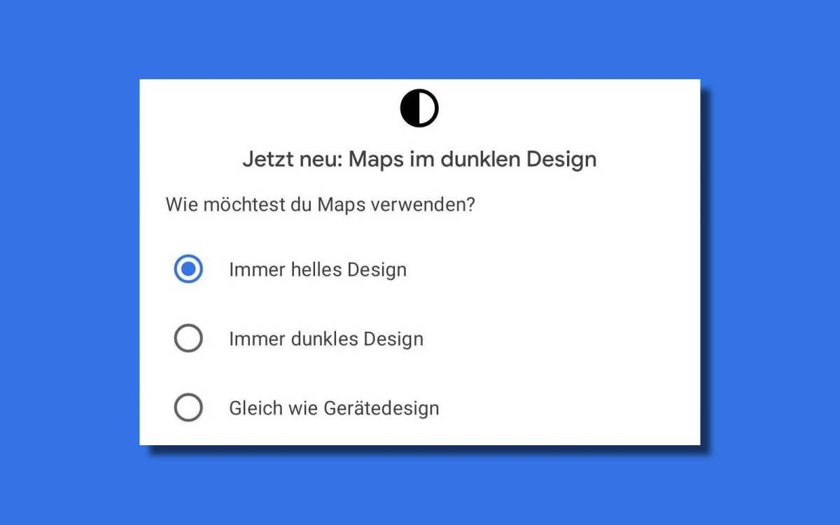 Google Maps Dunkles Design Meldung