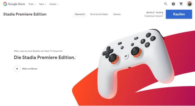 Stadia Premiere Edition 60 Euro Angebot