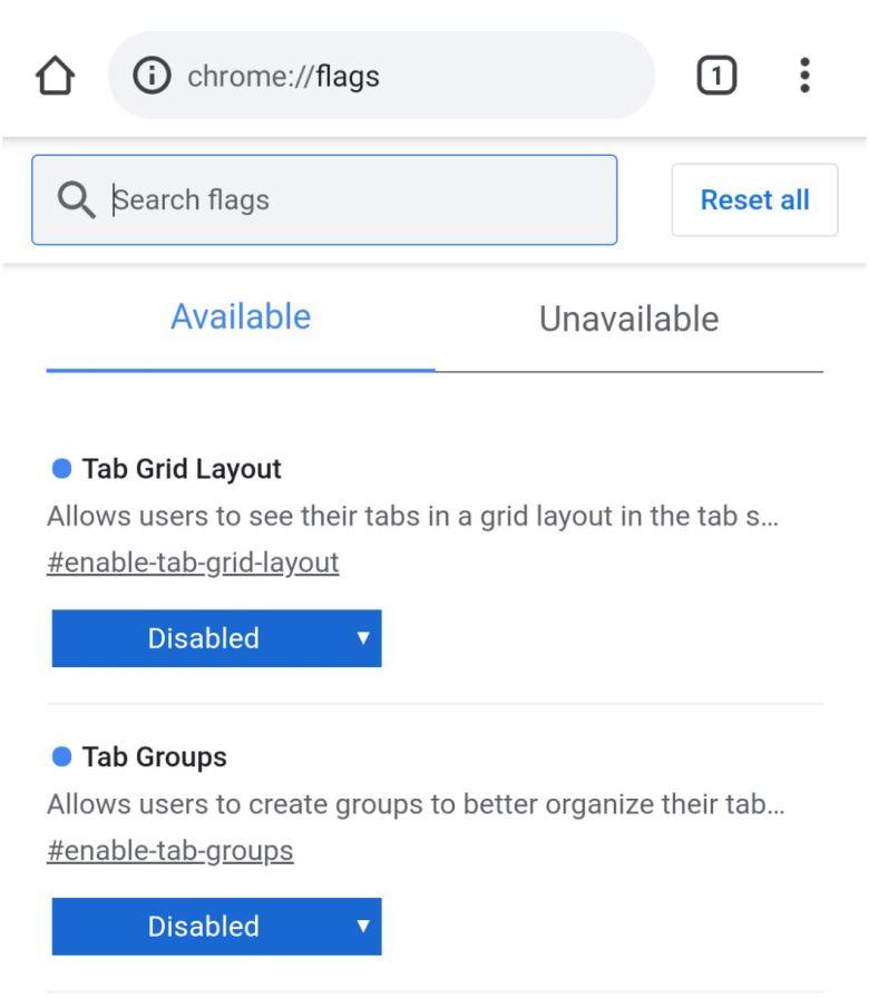 Chrome Android Tabgruppen abschalten