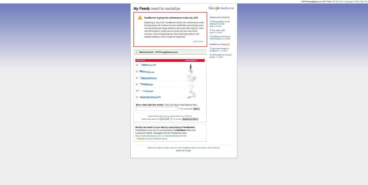 Feedburner Webseite