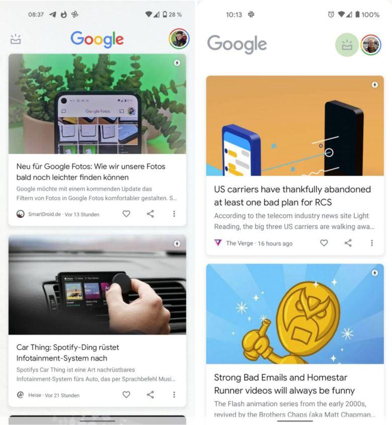 Google Discover Redesign Vergleich April 2021