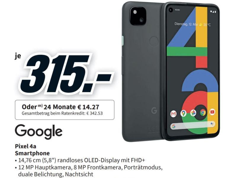 Pixel 4a Mediamarkt 315 Euro