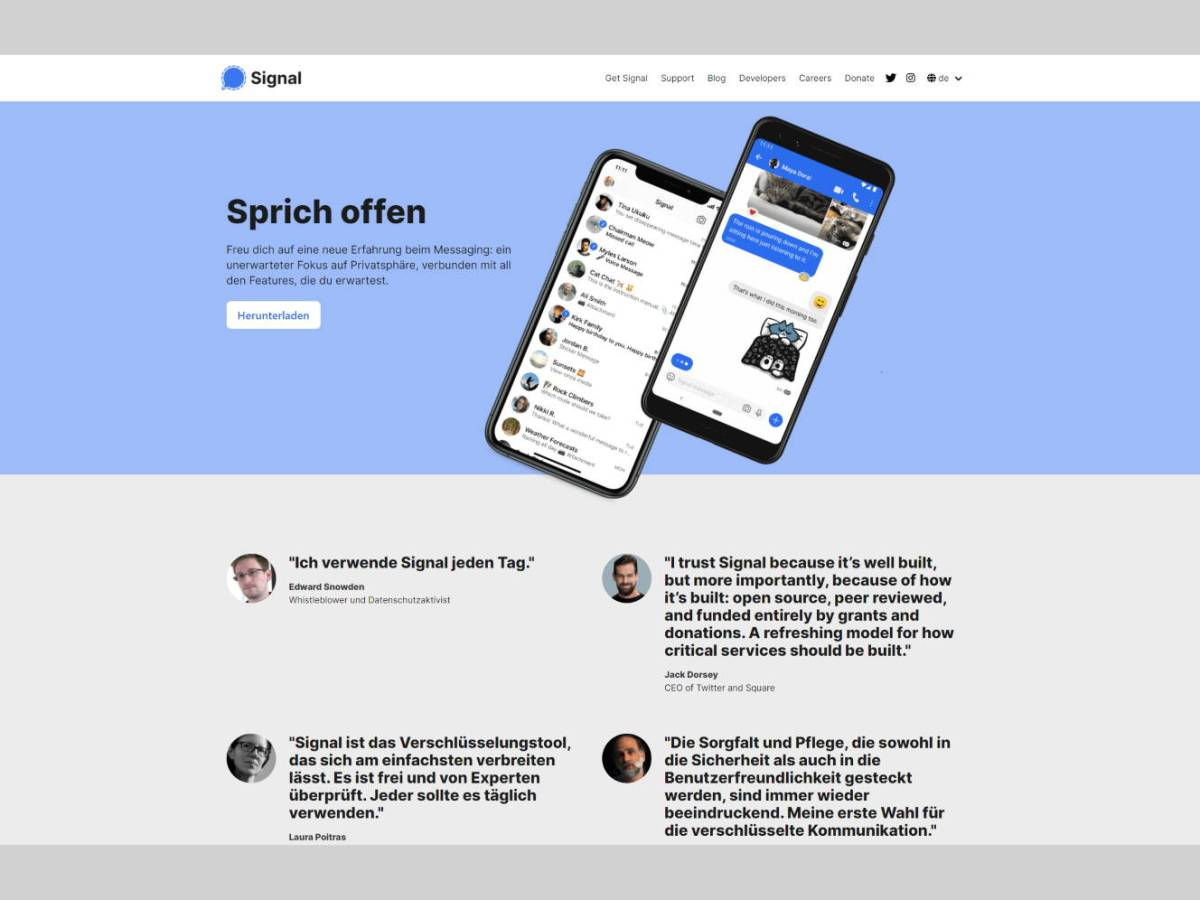 Signal Messenger Website Screenshot