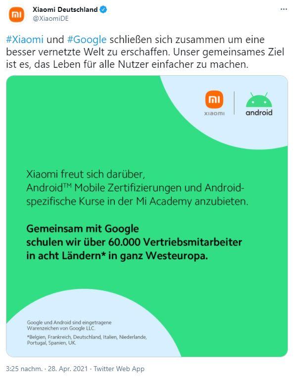 Xiaomi Google Westeuropa Partnerschaft Tweet