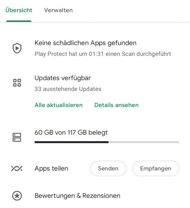 Google Play Store meine Apps Übersicht