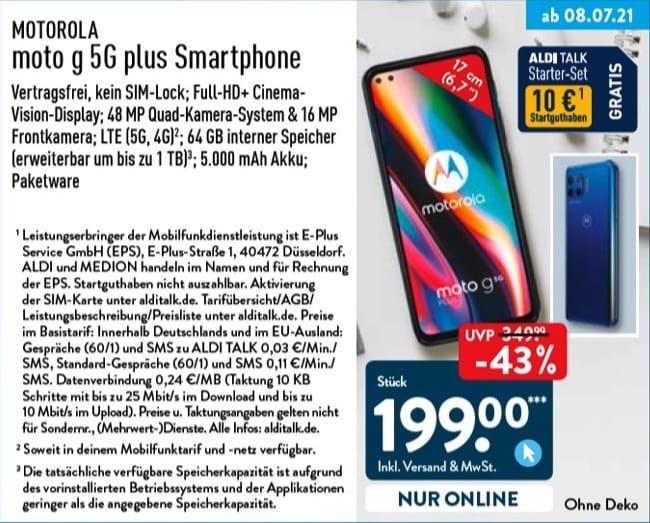 Moto G 5g Plus Aldi 8 Juli