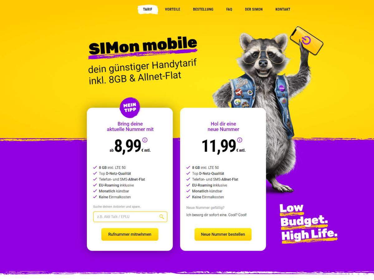 Simon Mobile Screenshot Vodafone Tarif