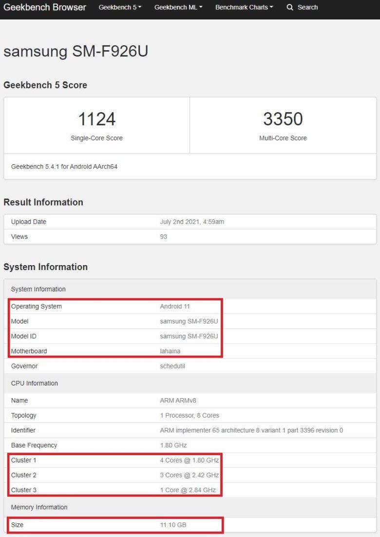 Samsung Galaxy Z Fold 3 Snapdragon 888 Geekbench