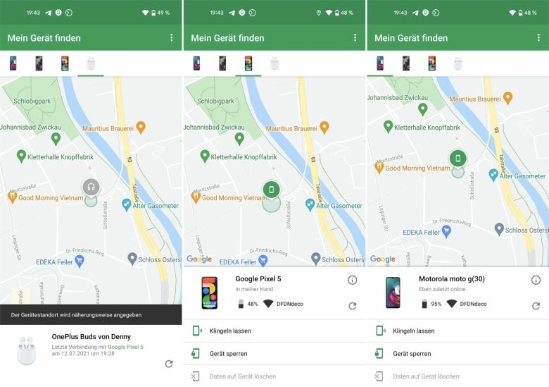 Screenshots Find My Device Android