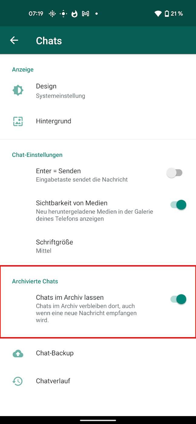 Whatsapp Archiveinstellungen