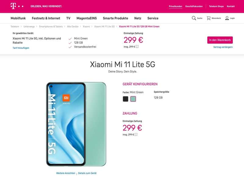 Xiaomi Mi 11 Lite Telekom Angebot
