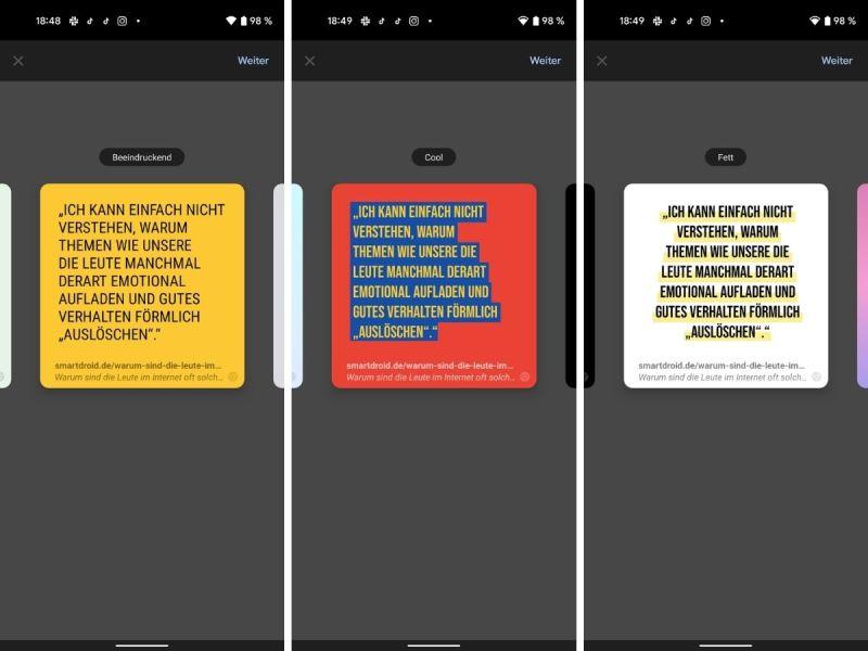 Android Chrome Zitat Karten Beta