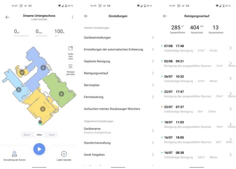 Dreame Bot Z10 Pro App Screenshots