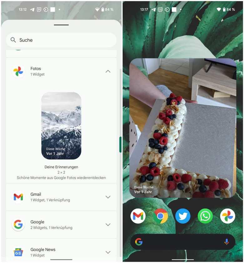 Google Fotos Erinnerungen Widget Screenshots