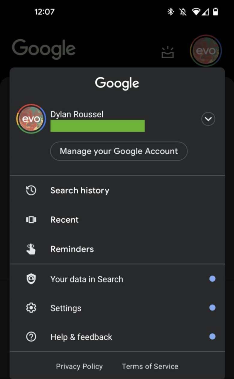 Google App Neues Menue Profilbild