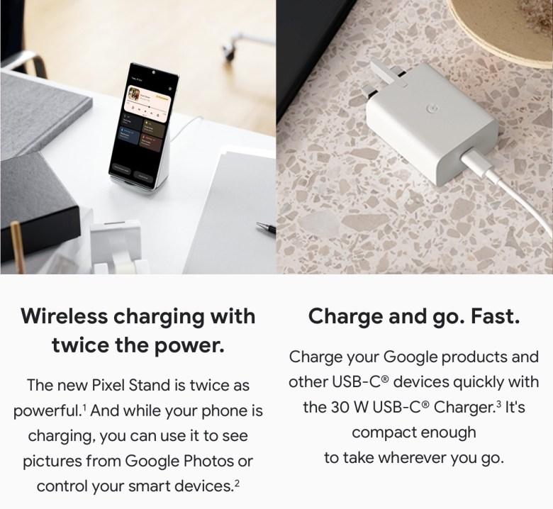 Google Pixel 6 Stand und 30 Watt Charger
