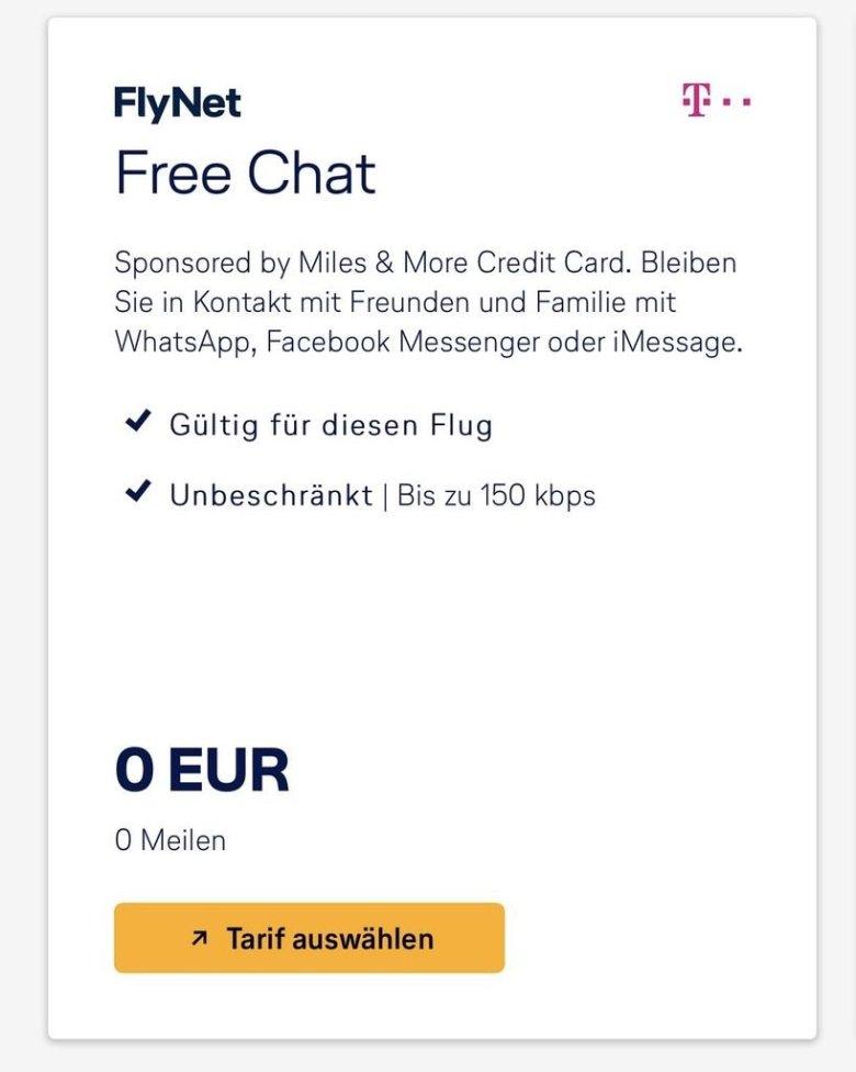 Lufthansa Flynet Free Chat Screenshot