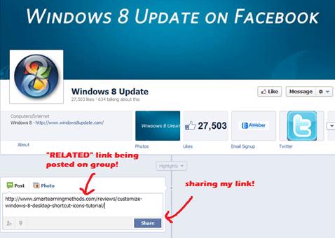 sharing links on Fb