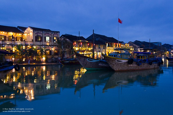 River front area of Hoi An at night.