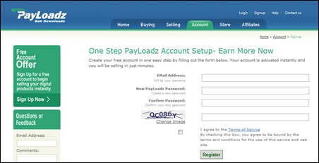 Sign up with Payloadz